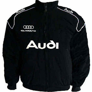 Audi Quattro Racing Jacket Black with White Embroideries