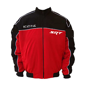 d4fd8fb95ea Dodge Challenger SCAT Racing Jacket Black and Red with White piping