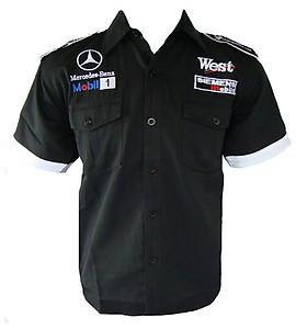 Mercedes Benz West Racing Shirt Black with White Trim