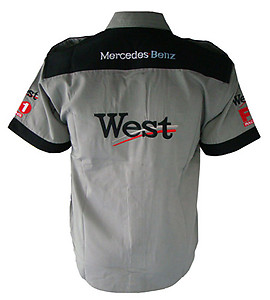 Mercedes Benz West Racing Shirt Light Gray with Black Trim