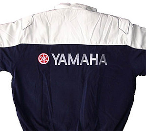 Yamaha Motorcycle Jacket White and Dark Blue