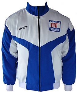Yamaha Team Fiat Motorcycle Jacket White and Royal Blue