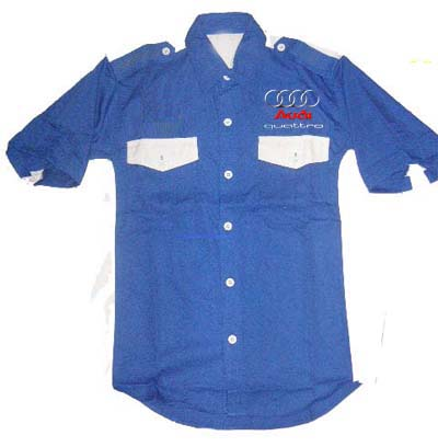 Audi Quattro Crew Shirt Royal Blue and White